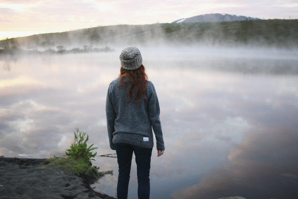 Iceland, Sunset, People and Nature, Geothermal Lake