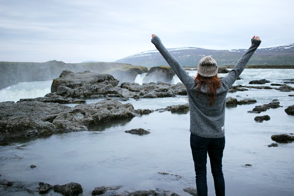Iceland, Godafoss, Midnight Sun, Iceland Road Trip, Iceland Tips, Girl in Iceland, Waterfall