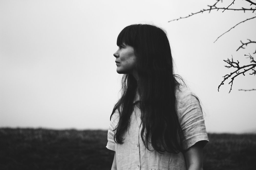 Black and white, Girl in the countryside with long hair