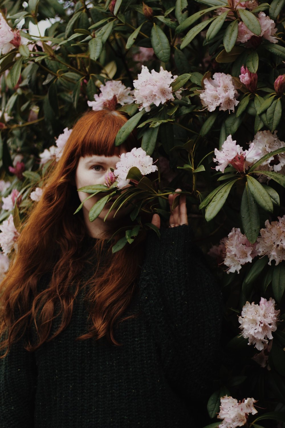 Girl, Flowers, Red Hair, Rhododendron