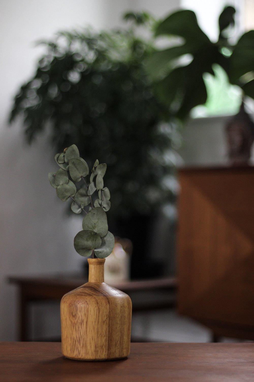 Berwyn woodwork, wooden bud vase, Mid Century Modern interiors