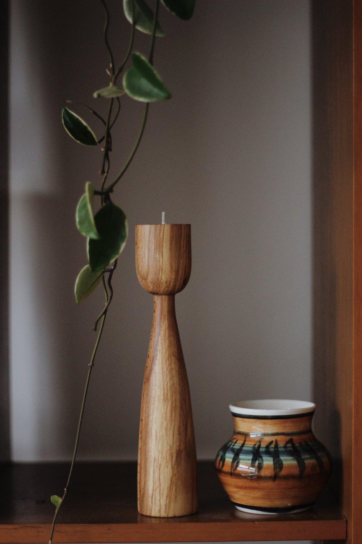 Candlestick and pot on shelf, Mid-Century Modern interiors