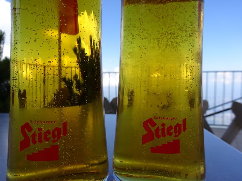 Celebratory Stiegl @ the top of Untersberg