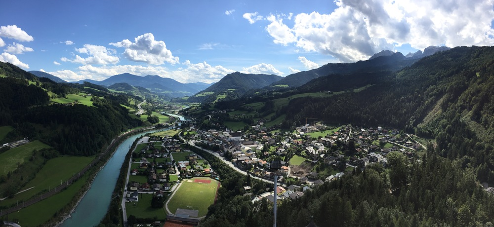 Overlook of Werfen from Hohenwerfen Castle by Molly McSweyen