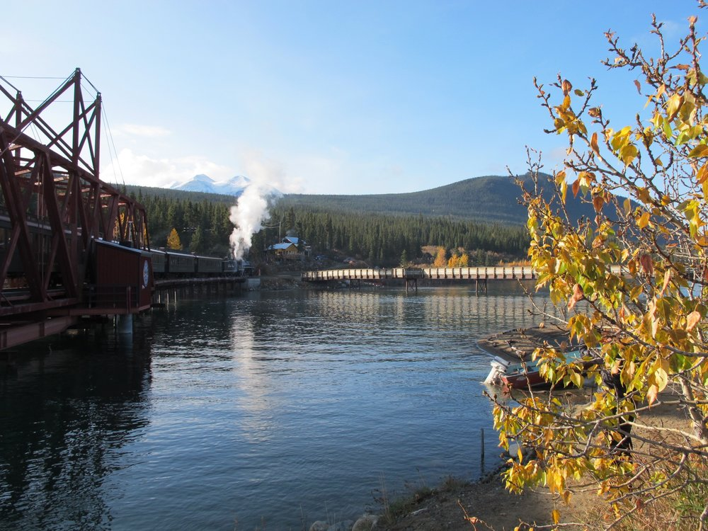 Carcross bridge and White Pass steam train