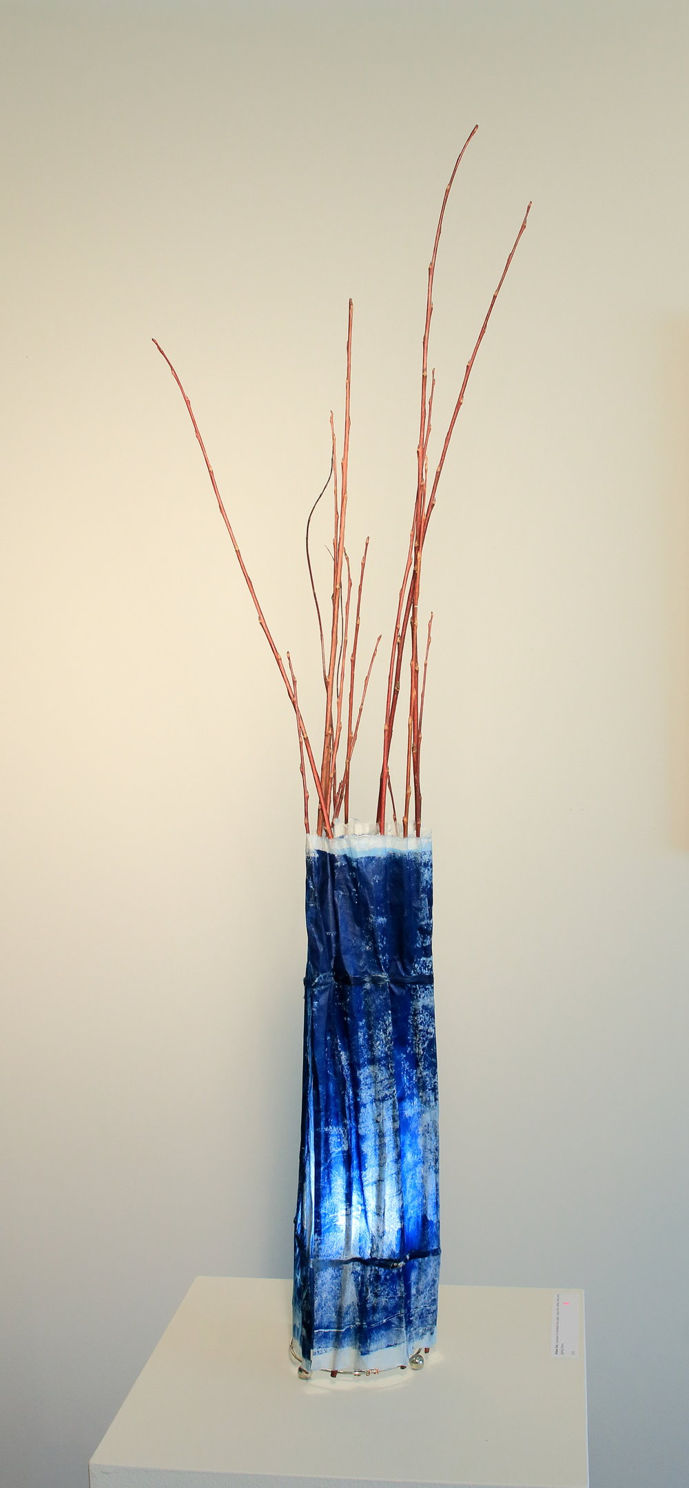 "Willow Lamp with cyanotype printed handmade Kozo paper, 30""x7""x7"""