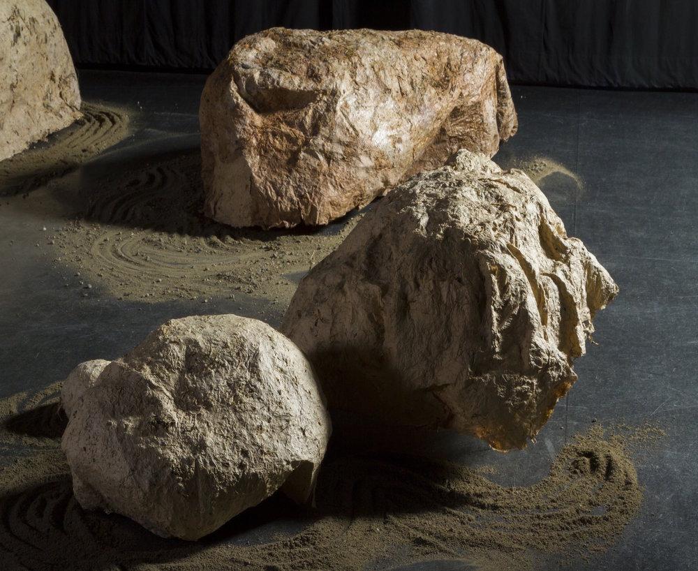 Singing Stones (detail), Cast Paper (Handmade gampi, lichen, moss, wild grasses)
