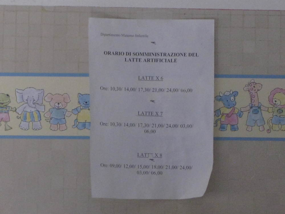 Formula feeding instructions, Careggi maternity ward