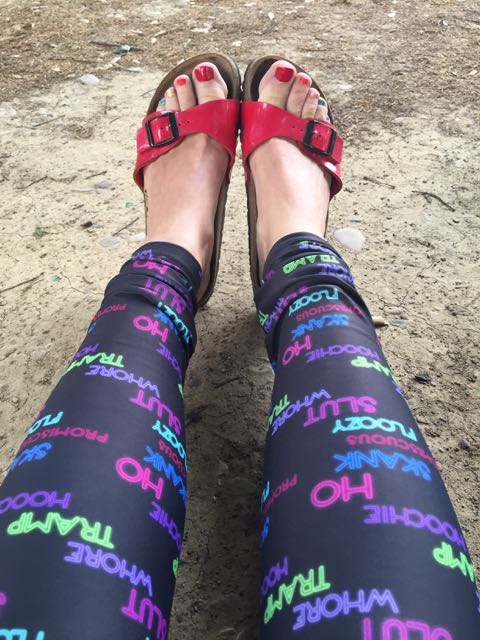 Rainbow toes and anti-slut-shaming leggings.