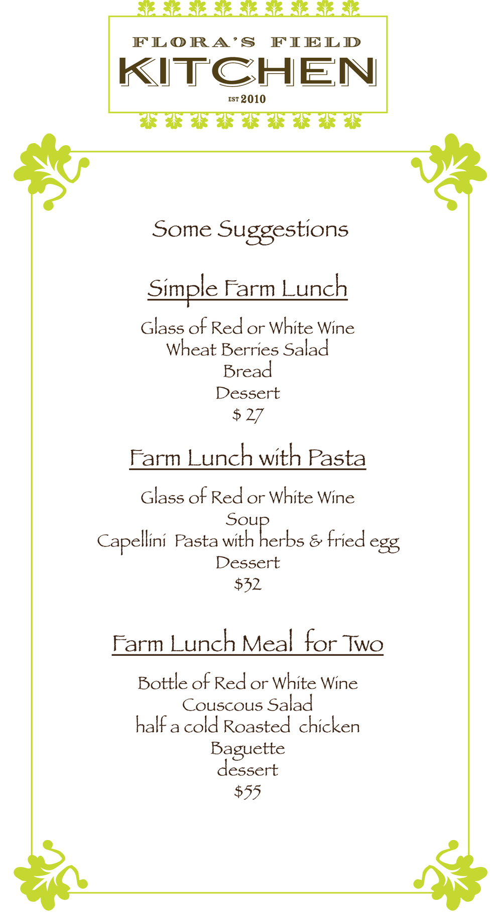Lunch suggestions menu