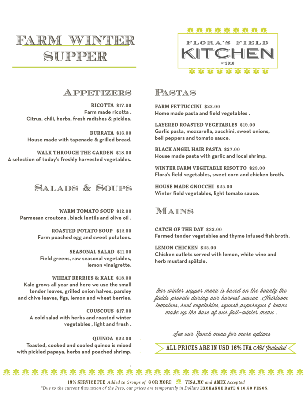 Winter Supper Menu