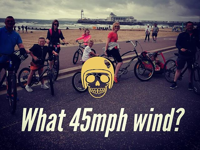 Check out this brave Irish lot. No rest for the wicked. Good work guys!!! #bournemouthbeach #boscombebeach #rain #bournemouth #irish #cycling #family #weather