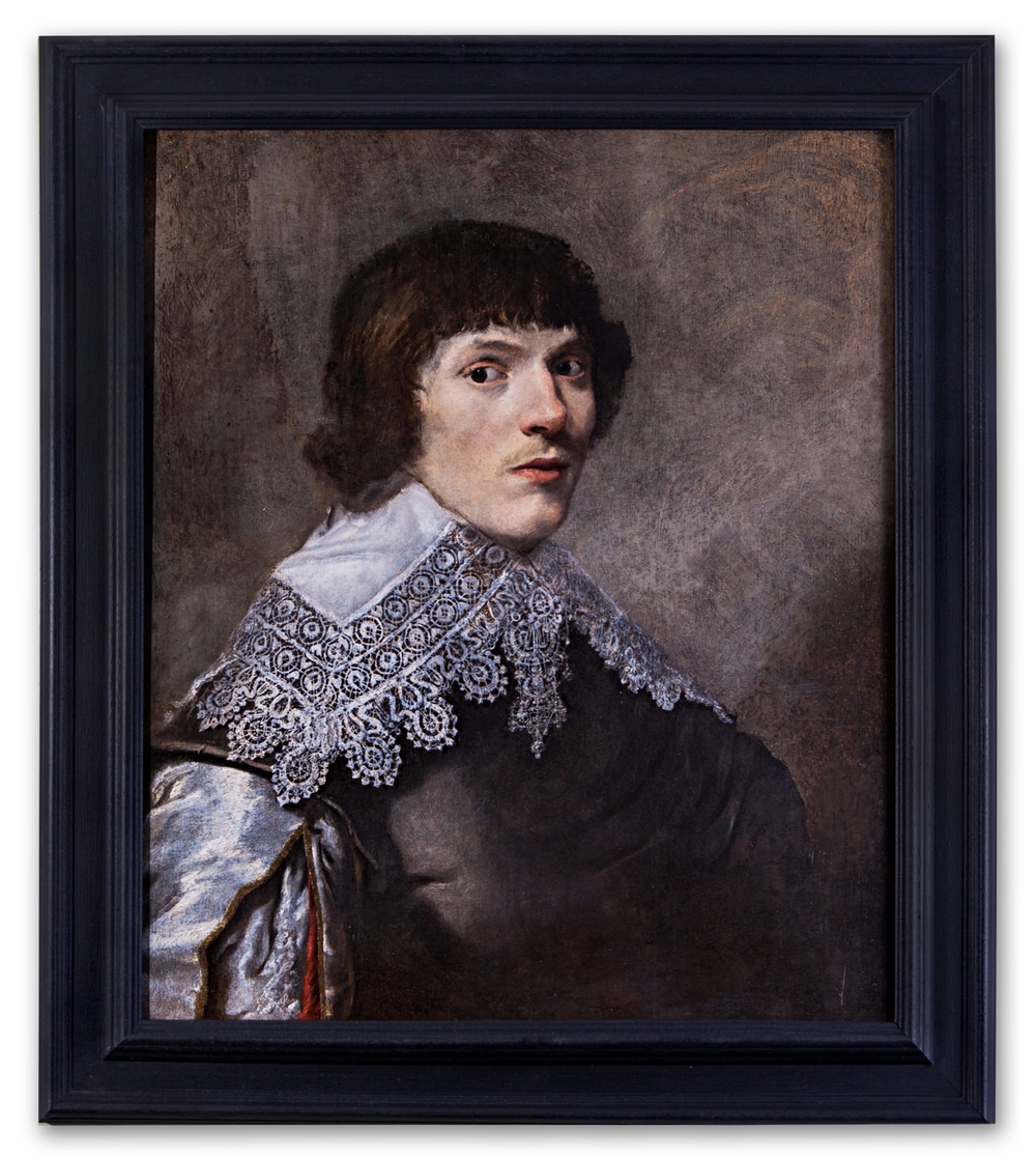 Dutch School, Portrait of Man in Black Coat and Lace Collar, c.1630.