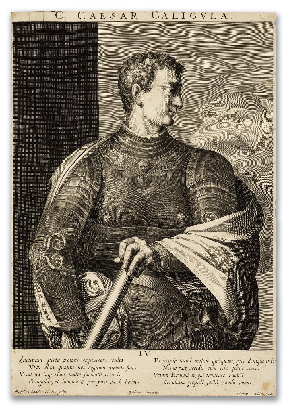 Aegidius Sadeler II (1570-1629), Portrait of Caesar Caligula (after Titian), c.1600.