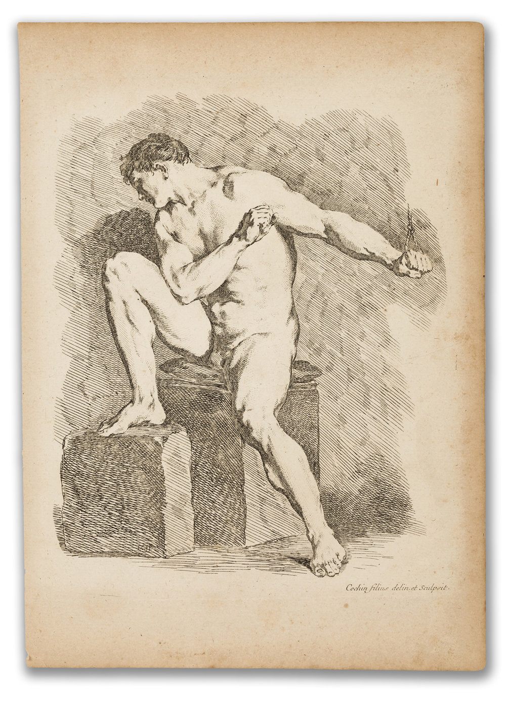 Charles Nicholas Cochin, (French 1715-1790), Academic Study, 18th Century.