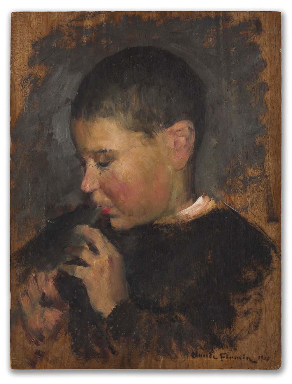 Claude Firmin, (French 1864-1944), Study of Boy with a Pipe, 1920.