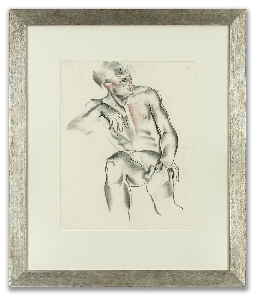 Nommie Durell, (British 1905-1989), Seated Male Nude, c.1938.