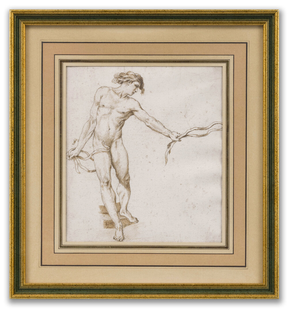 Circle of Edmé Bouchardon, (French 1698-1762), Male Figure Study, 18th Century.