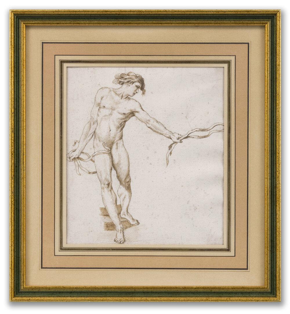 Circle of Edmé Bouchardon, (French 1698-1762), Male Figure Study, 18th Century.