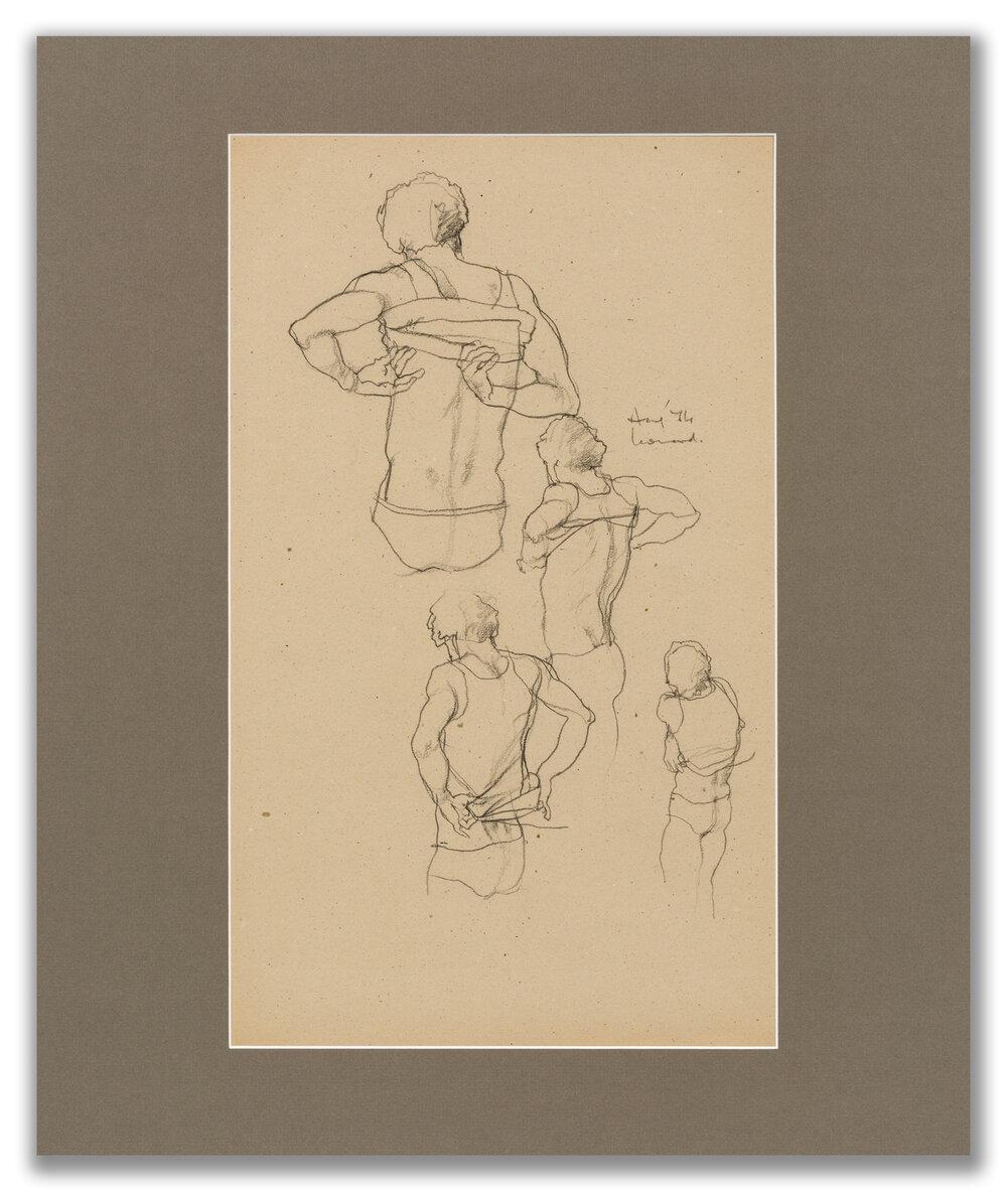 Michael Leonard, (British b.1933), Singlet off and on fast; back view x 4, 1974.