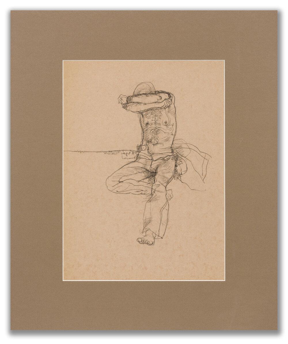 Michael Leonard, (British b.1933), Tattooed man removing T-shirt, 1978.
