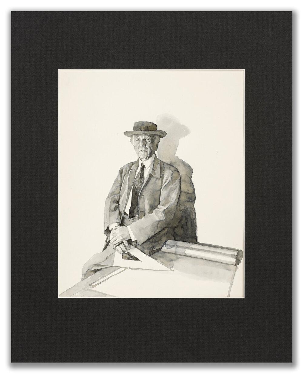 Michael Leonard, (British b.1933), A Good Age; Frank Lloud Wright, 1977.