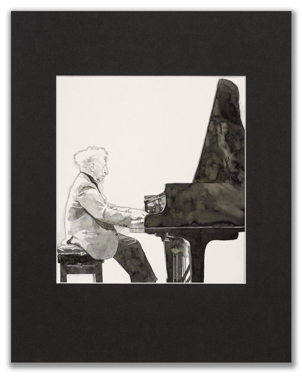 Michael Leonard, (British b.1933), A Good Age; Arthur Rubinstein, 1977.