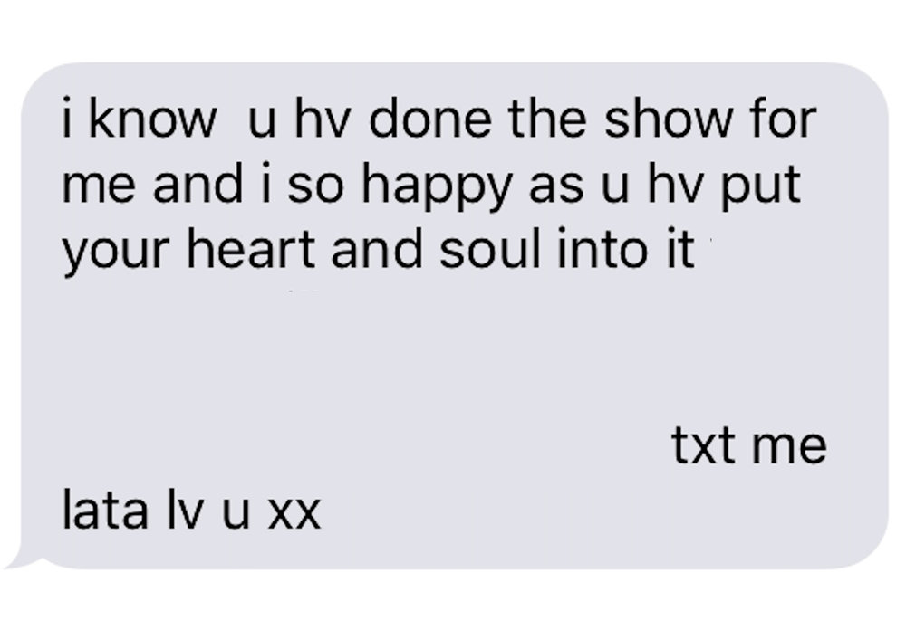 Text from Mum, 2016