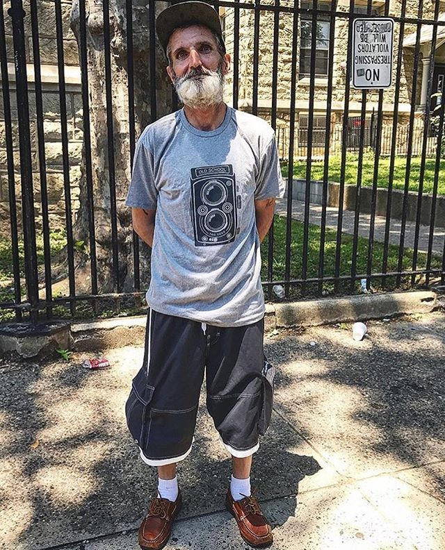 """If you don't already know @the_brittjames then you really should! This guy lives and breathes kindness in his community in Philadelphia, U.S. Here's a recent post from Britt -  96 degrees today.  Perfect day to hand out water and other necessities in Kensington with @realhumanist and @mindful.healing - Tony, one of the first guys to approach us, asked if we had any t-shirts. Honestly, it's something that we never have or get donations for. However, this time around there was a bag in the car that was full of t-shirts that were donated by our community friends at @togtees for the purpose of distributing to those in need of some assistance. I sorted through the bag to find a shirt to fit Tony, both size wise and personality wise. I found my favorite design, """"Old School,"""" and handed it to Tony.  He held it up to his body and smiled from ear to ear. He looked up at me and said, """"This is perfect. Thank you!"""" I asked if I could take a picture and he more than willingly agreed and even changed into his new tee to model it.  Watching him put on this clean, fresh, new t-shirt and brush it flat against him with pride and smile and thank me over and over again was more than enough to make my day complete. After putting the shirt on it was obvious that Tony's whole attitude changed and he seemed to be in brighter spirits than when he first approached us. It most certainly is the little things that make the all the difference in the world. 🙌🏽 #DoSomethingForNothing"""