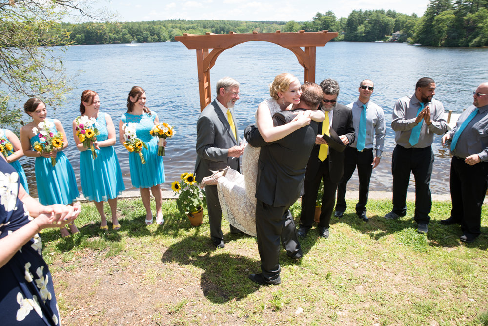 Lisa and Nate, weddings, Fall, Autumn, marriage, nature, October, Brian, Latham, wedding photography, rustic, woodsy, woods, DIY, Connecticut, Massachusetts, lake, sunflower, pond, yellow, simple, gorgeous, bouquet, ceremony