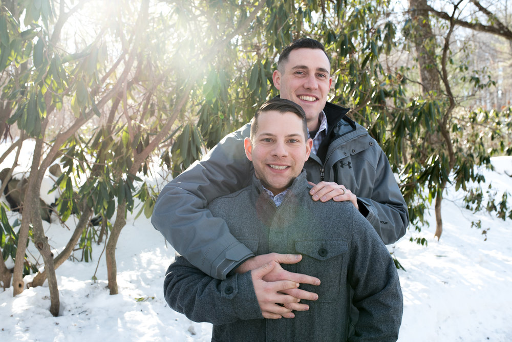 Moore State Park gay couple engagement photos in Paxton, MA photographed by Kara Emiy Krantz Photography