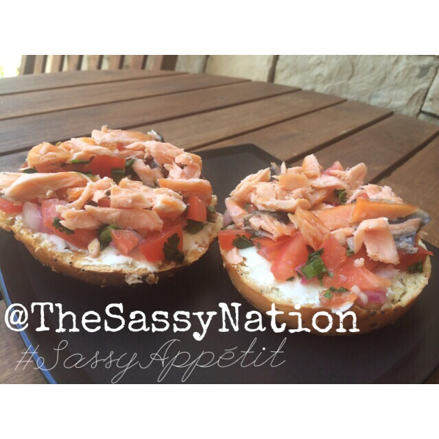 Sassy Appétit    Breakfast al fresco, Sassy Appétit style 😋😎. Honey smoked salmon on a lightly buttered everything bagel with cream cheese & a layer of my fresh, homemade pico de gallo. Yasss!   Now delivering to an Atlanta 'hood near you!