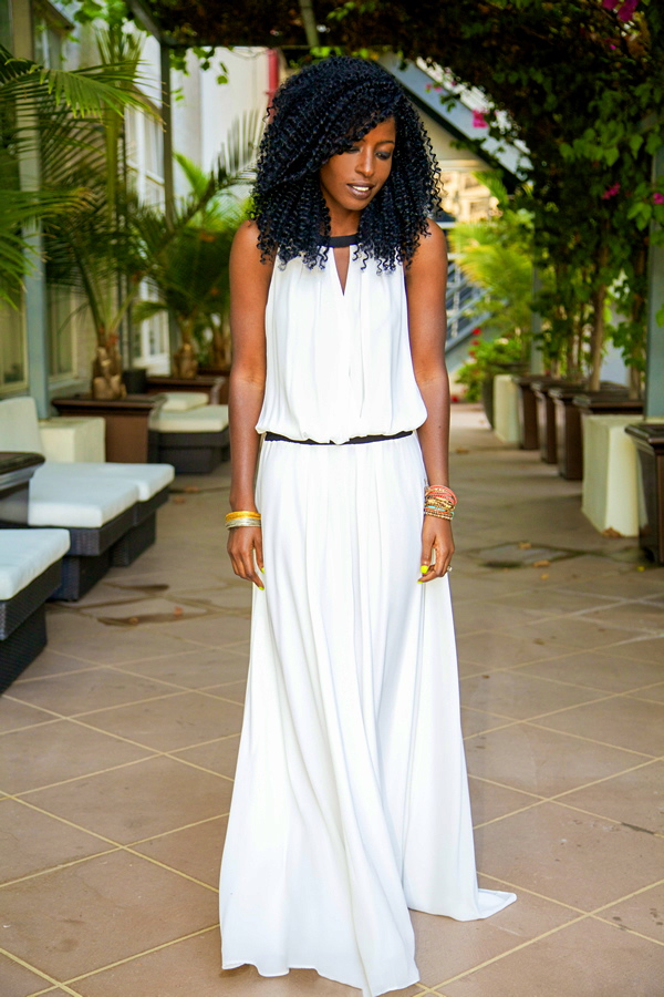 the-streetstyle :     White Dropped Waist Maxi Dress via  stylepantry
