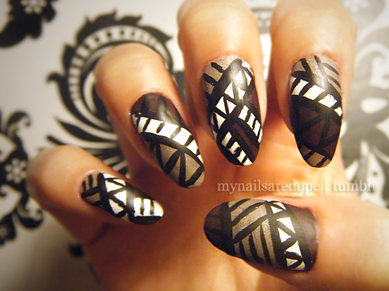 Bella Sassy Nails    Go Tribal    mynailsaredope :       Matte Tribal nails using Essie's Carry On & Mochacino.
