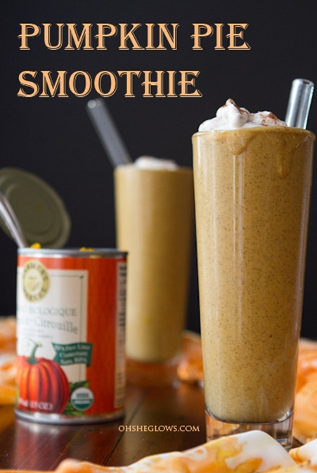georgie-ray :      Yield : 4 cups    Ingredients :    2 cups almond milk   ½ cup rolled oats   2 tbsp chia seeds   1 cup canned pumpkin   ½ tbsp blackstrap molasses   1 frozen ripe banana   2 tsp cinnamon   ½ tsp ground ginger   ¼ tsp ground nutmeg   1.5-2 tbsp pure maple syrup    Coconut Whipped Cream , for garnish    1. In a medium-sized bowl whisk together the milk, oats, and chia seeds. Place in fridge for 1 hour or preferably overnight.   2. Add soaked oat mixture to blender along with the pumpkin, molasses, frozen banana, and spices. Blend until smooth. Add about 5 ice cubes and blend until ice cold.   3. Add maple syrup to taste. I found 1.5 tbsp was perfect for me.   4. Serve with Coconut Whipped Cream and a sprinkle of cinnamon on top!