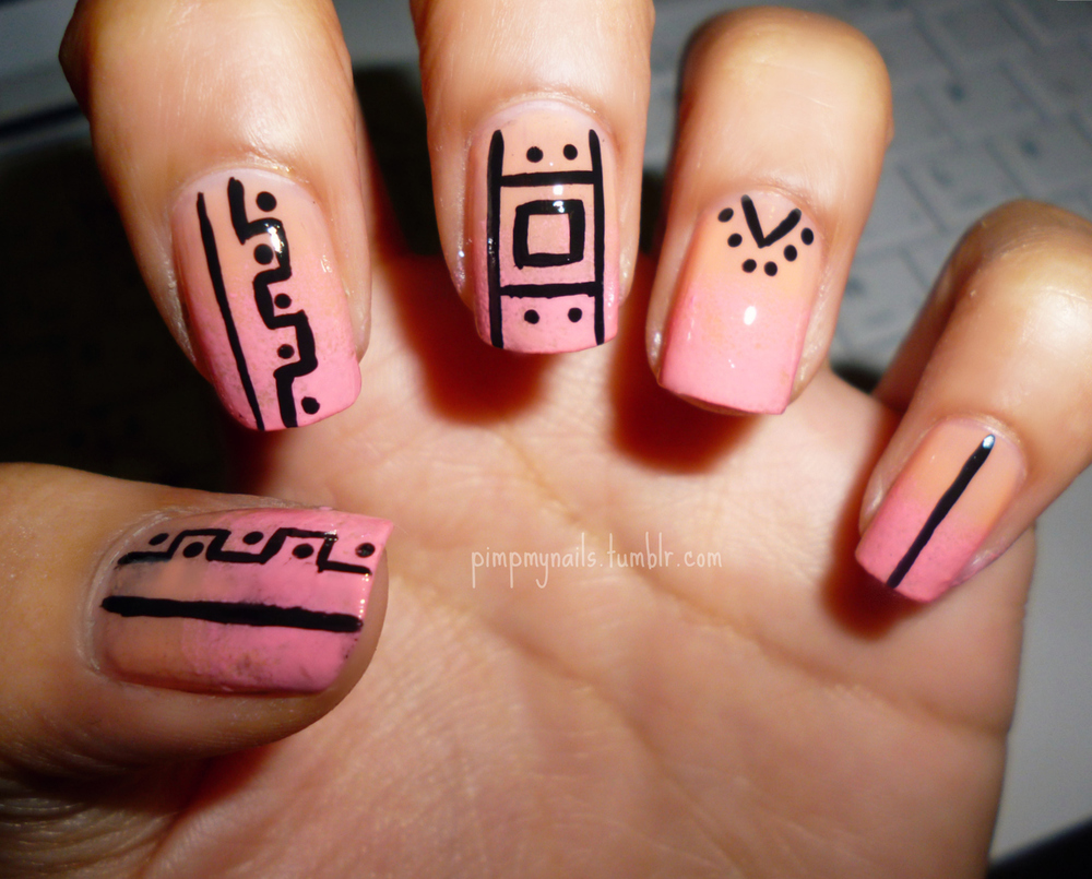 Bella Sassy Nail Art via pimpmynails: tribal + gradient Like us on facebook!