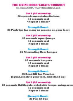 Sassy Curves via muffintop-less: Tabata training is a GREAT way to get an intense effective workout in a very short amount of time! Give this workout a try..
