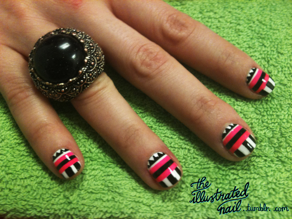 Bella Sassy Nail Art     via theillustratednail :     TRIBAL NAILS FOR  @kissandmakeup!         Stay fab, join Sassy Nation     http://sassynation.tumblr.com     http://www.facebook.com/TheSassyNation     http://twitter.com/#!/SassyNation