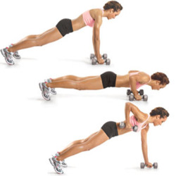 Sassy Curves     via fitvillains :      Pushup To Plank Row     Modifier: This move can be done with or without dumbbells, and from the knees.      Start in pushup position, hands directly under your shoulders and elbows close to the body. This is a  tricep  pushup: you'll keep your arms close to your body as you lower & lift.   Sink down into a pushup. Keep your  quads  &  core  tight. Push up and lift one arm into a row. Squeeze your shoulder blades as you lift and bring your elbow up  past  your back. Replace the dumbbell and row on the other side. Repeat with the pushup.      Throw it in to your workout!  3 sets of 10, or 3 sets of 60 seconds (max reps). If it's too easy, increase your weights and/or try it with your feet elevated.    Need a workout? Try this circuit!      12 Minute Workout  (Cardio, shoulders, core & back).   Complete each move for 60 seconds. Rest 30 seconds & repeat the circuit 2-3 times. You'll need dumbbells (medium to heavy) and a timer.     Pushup To Plank Row    High Knee Run    Squat & Press    High Knee Run    Burpee to Shoulder Press (Modified if needed. Weights in hands)    High Knee Run        Let's get fit, join Sassy Nation     http://sassynation.tumblr.com     http://www.facebook.com/TheSassyNation     http://twitter.com/#!/SassyNation