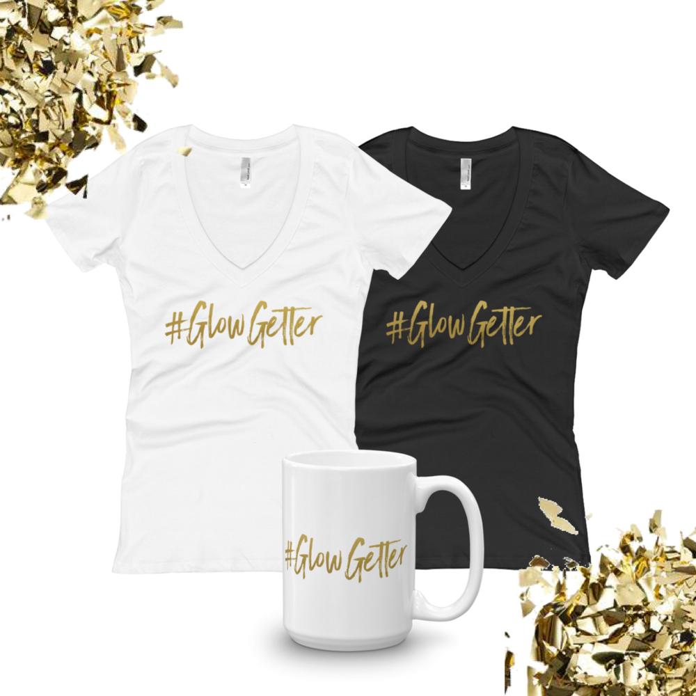 Gold Lettered #GlowGetter Women's Tee & Mug