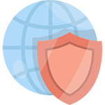 Globe with a shield to indicate SSL encryption for website security