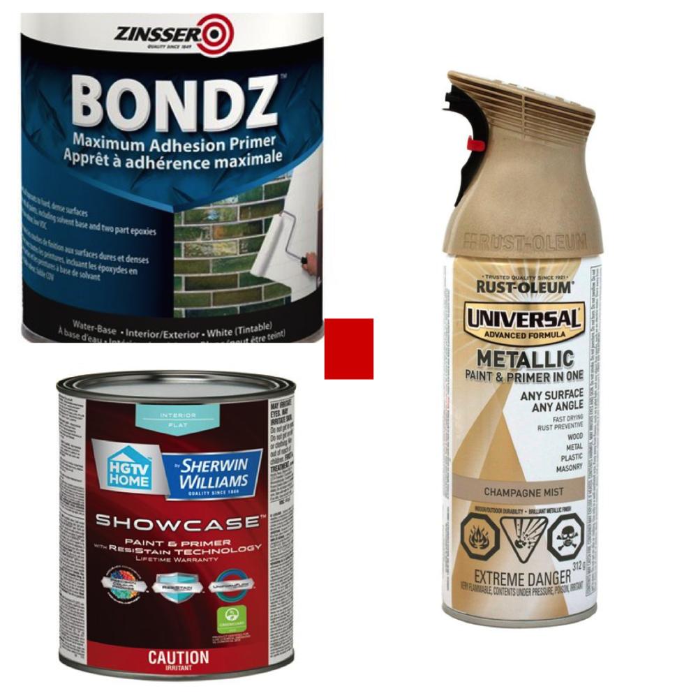 Zinsser BONDZ primer, Sherwin-Williams Flat Interior Paint and Rust-Oleum Universal Metallic Gloss Paint and Primer Spray