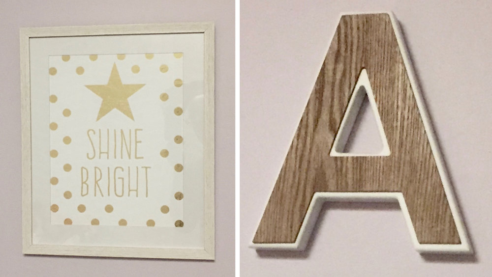 "The ""Shine Bright"" picture is shiny gold which ties into some of the other metallic elements in the room."