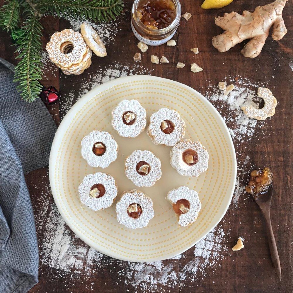 Ginger Lemon Linzer Cookies GF