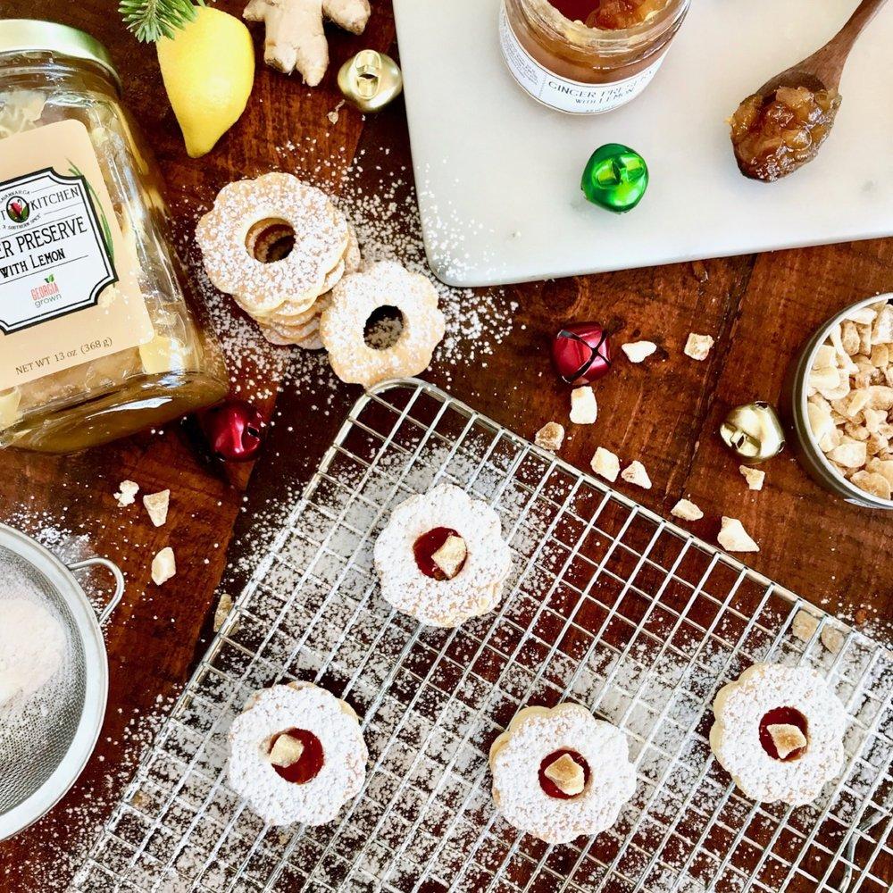 Ginger Lemon Linzer Cookies -