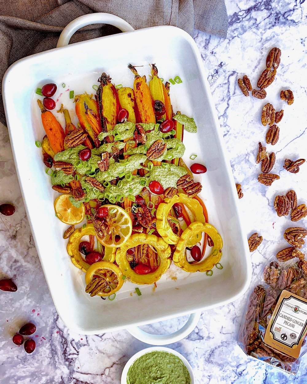 GLAZED CARROTS & DELICATA WITH CANDIED PECAN PESTO -