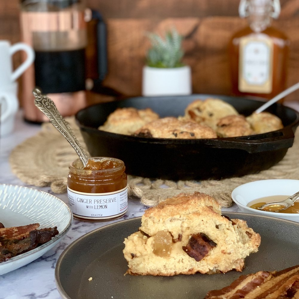 GLUTEN FREE CANDIED BACON & GINGER SCONES -