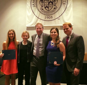 Scholarship recipients Caroline Brandt and Kathryn Potter with Barbara and Andy Parker and Chris Hurst at the JMU SMAD banquet.
