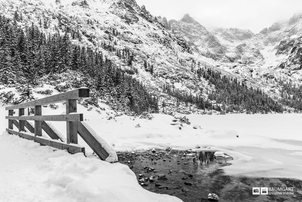 Black and white winter photography of Tatra mountains in Poland by Jeff Baumgart