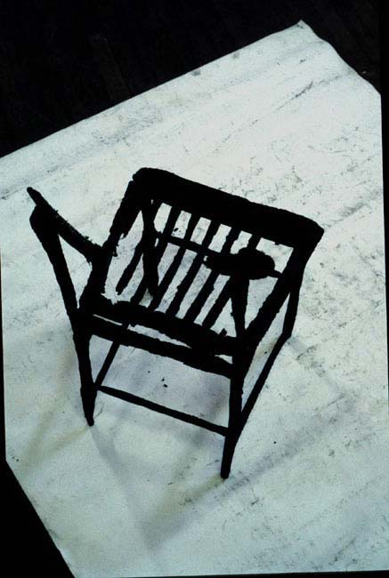Chair Drawing 1996    charcoaled chair, paper, tissue paper